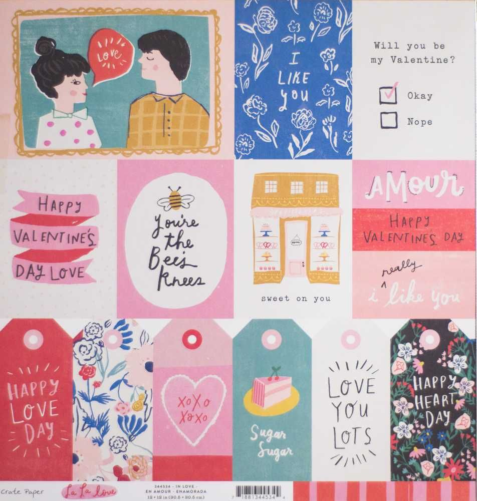 Papel Scrapbook La La Love In Love - Crate Paper