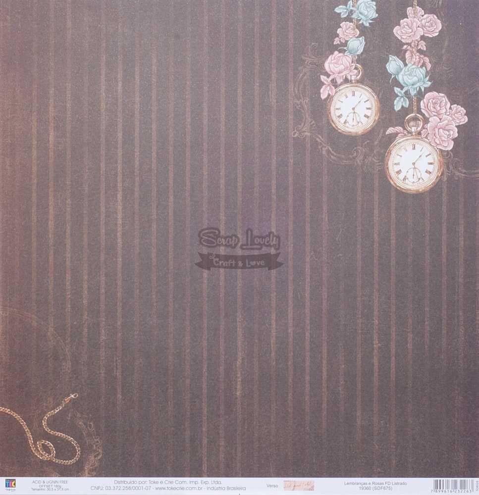 Papel Scrapbook Lembranças e Rosas FD Listrado - Toke e Crie