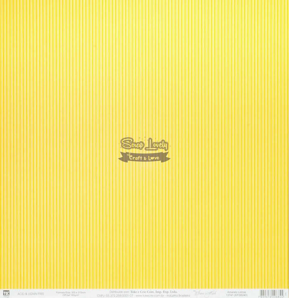 Papel Scrapbook Listras Amarelo - Toke e Crie