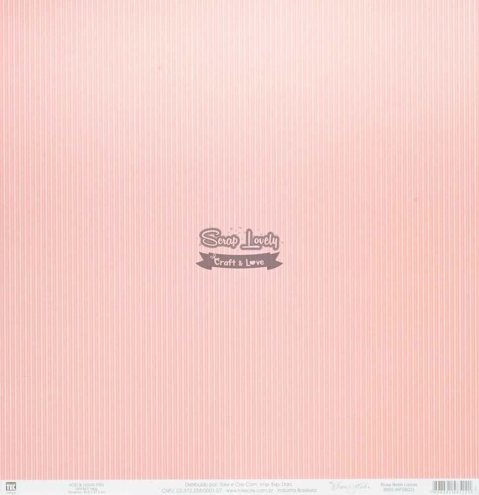 Papel Scrapbook Listras Rosa Bebê - Toke e Crie