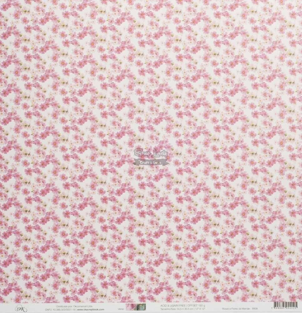 Papel Scrapbook Mamãe Rosas e Flores da Mamãe - OK Scrapbook