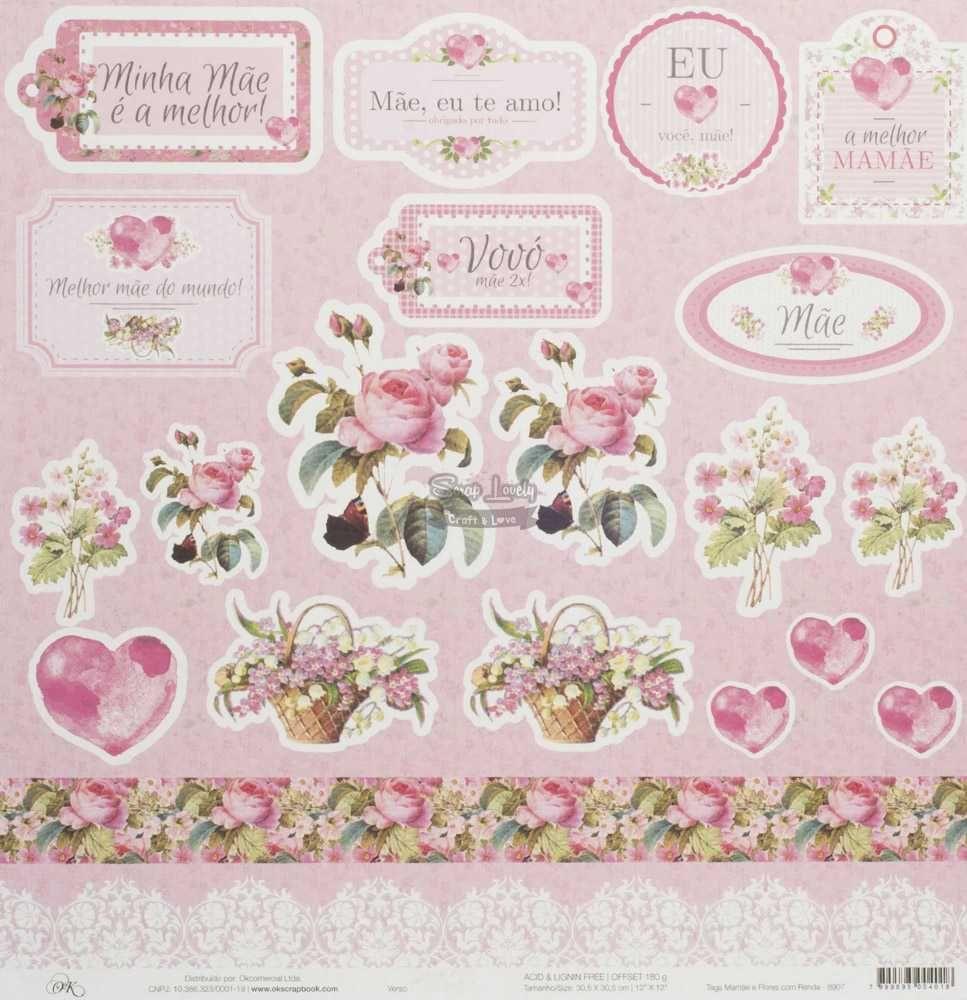 Papel Scrapbook Mamãe Tags Mamãe e Flores com Renda - OK Scrapbook