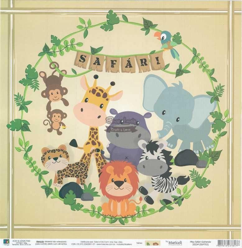 Papel Scrapbook Meu Safari Guirlanda - Toke e Crie