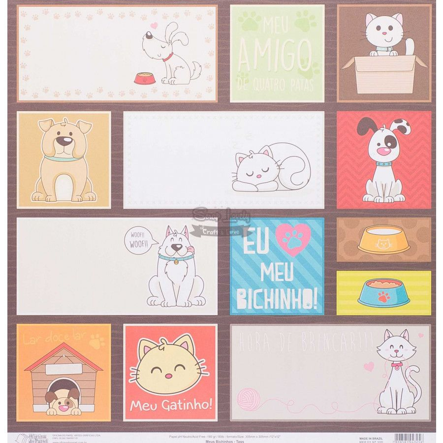 Papel Scrapbook Meus Bichinhos Tags - Oficina do Papel