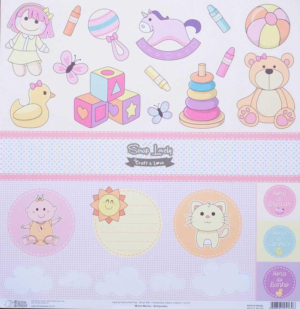 Papel Scrapbook Minha Menina Brinquedos - Oficina do Papel