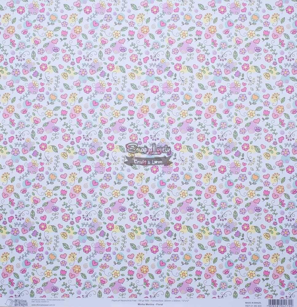 Papel Scrapbook Minha Menina Floral - Oficina do Papel