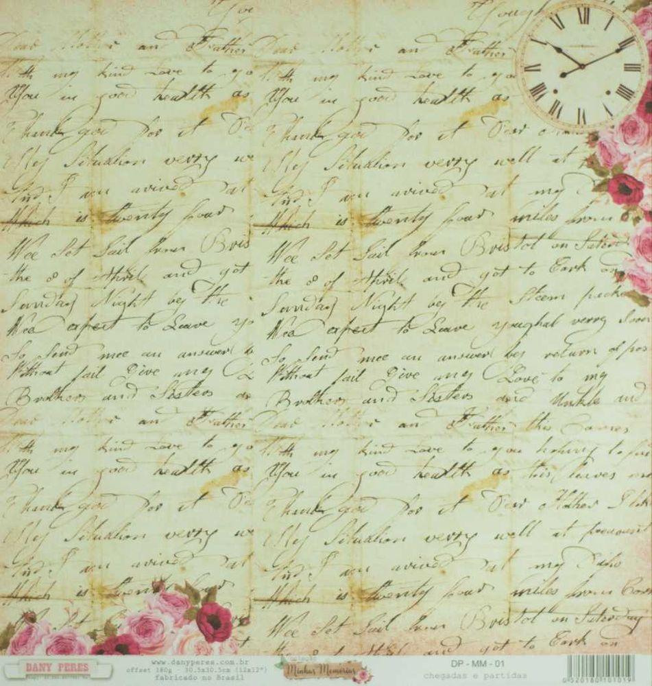 Papel Scrapbook Minhas Memórias Chegadas e Partidas - Dany Peres