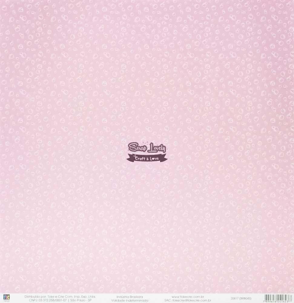Papel Scrapbook Mini Básico Bebê Menina Baleia - Toke e Crie