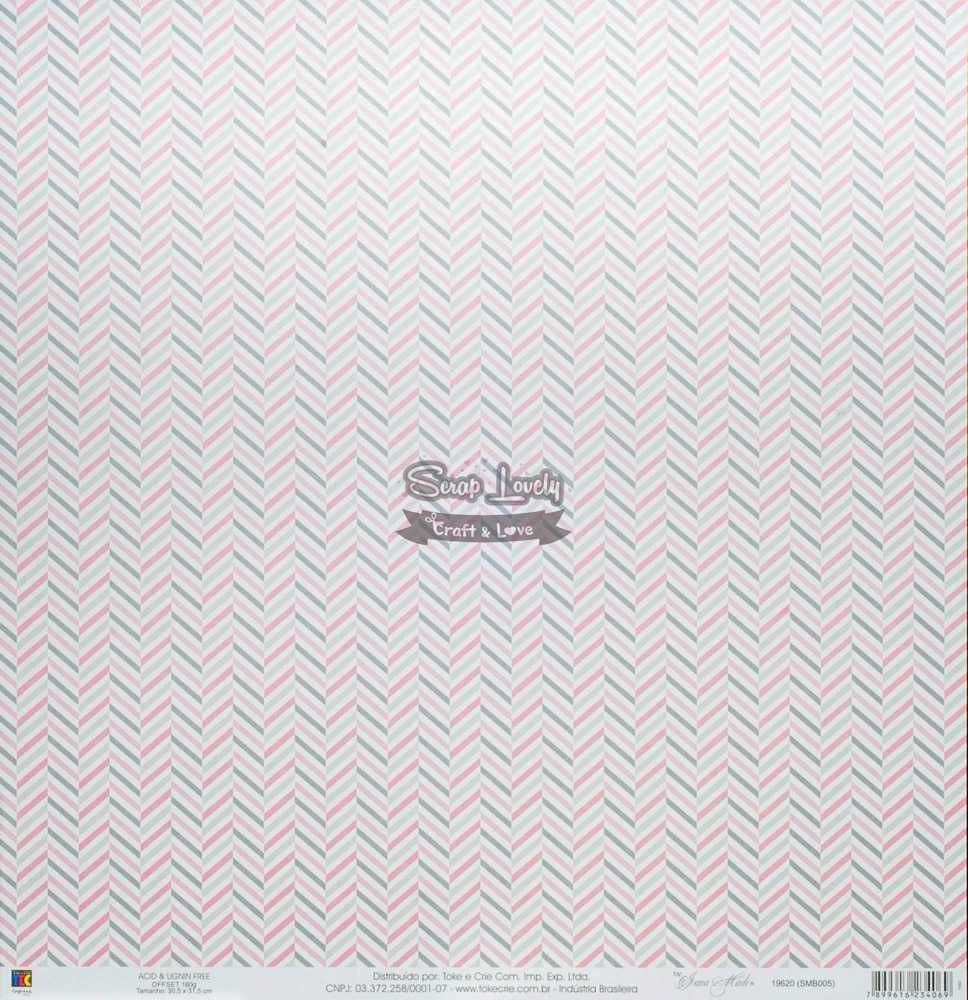 Papel Scrapbook Mini Básico Bebê Menina Balões - Toke e Crie