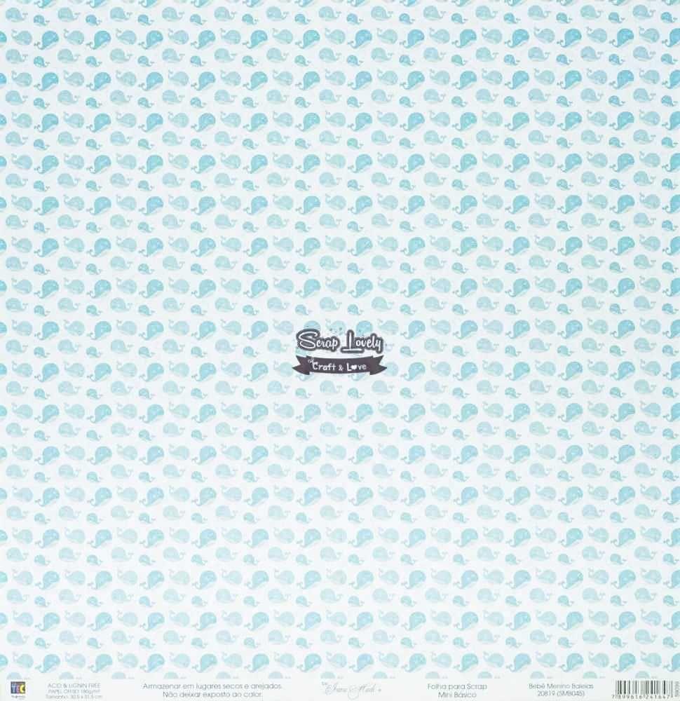 Papel Scrapbook Mini Básico Bebê Menino Baleia - Toke e Crie