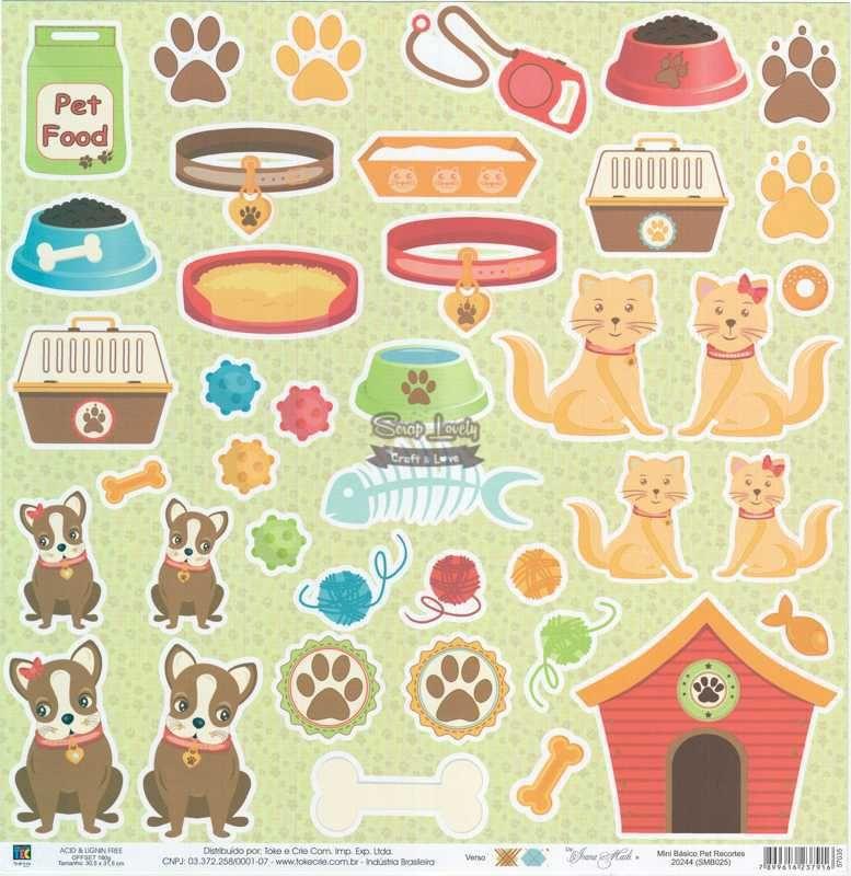 Papel Scrapbook Mini Básico Pet Recortes - Toke e Crie