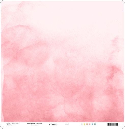 Papel Scrapbook My Basics Aquarela Rosa MMCMB-04 - My Memories Crafts