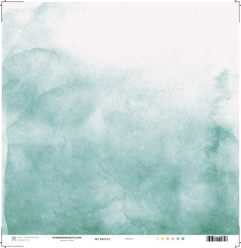 Papel Scrapbook My Basics Aquarela Verde MMCMB-06 - My Memories Crafts