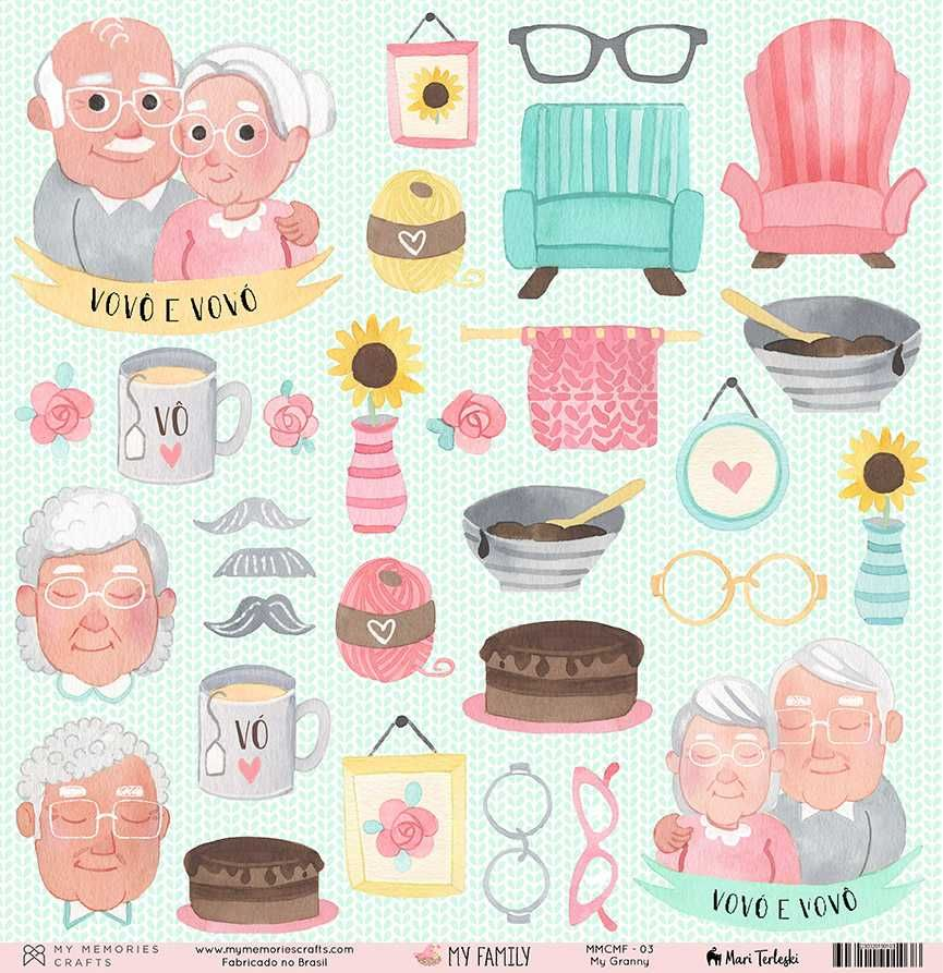 Papel Scrapbook My Family My Granny MMCMF-03 - My Memories Crafts