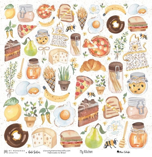 Papel Scrapbook My Kitchen My Food MMCMK-02 - My Memories Crafts