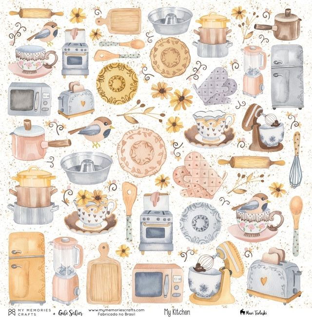 Papel Scrapbook My Kitchen My Ingredients MMCMK-01 - My Memories Crafts