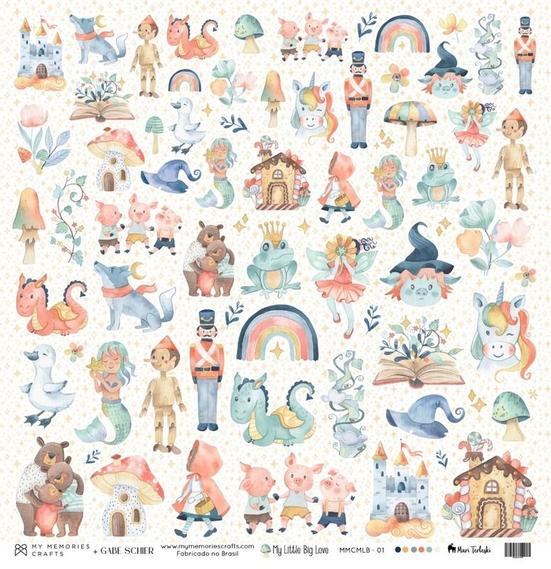 Papel Scrapbook My Little Big Love MMCMLB - 01 - My Memories Crafts
