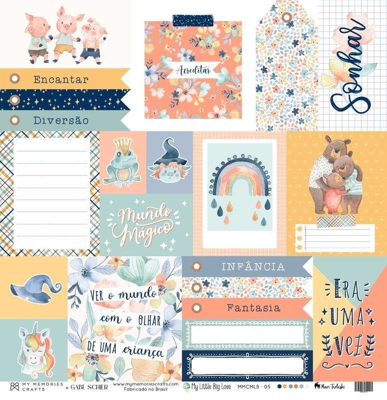 Papel Scrapbook My Little Big Love MMCMLB - 05 - My Memories Crafts