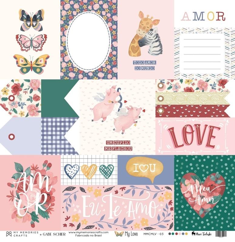 Papel Scrapbook My Love MMCMLV-02 - My Memories Crafts