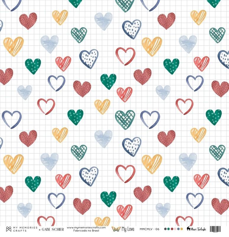 Papel Scrapbook My Love MMCMLV-06 - My Memories Crafts