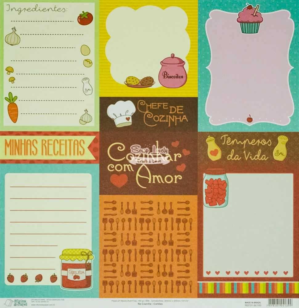 Papel Scrapbook Na Cozinha Cartões - Oficina do Papel