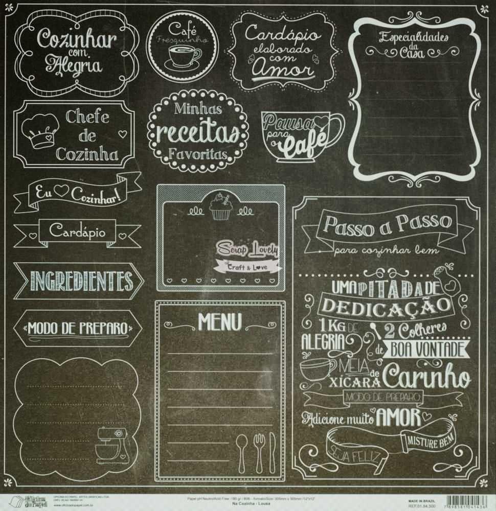 Papel Scrapbook Na Cozinha Lousa - Oficina do Papel