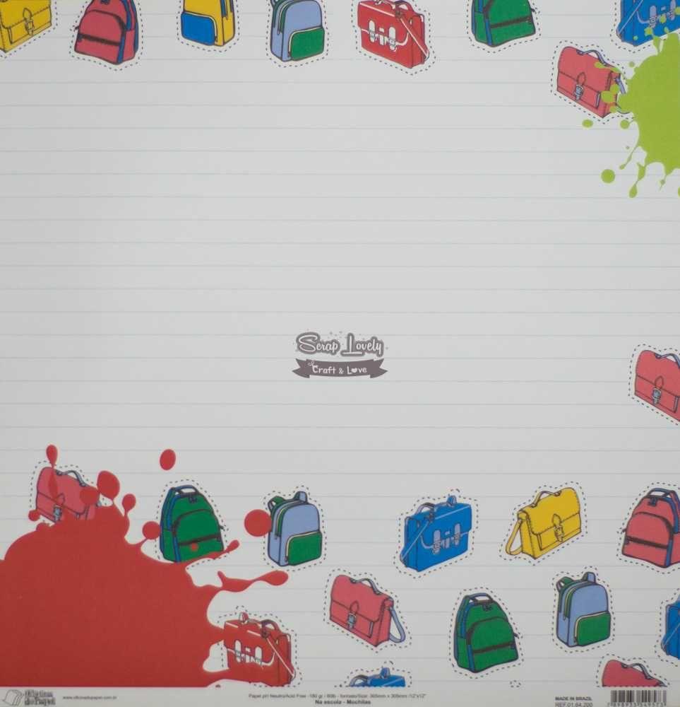 Papel Scrapbook Na Escola Mochilas - Oficina do Papel