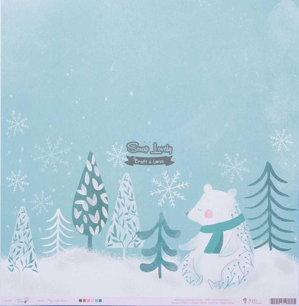 Papel Scrapbook Noite Feliz Paz e Gratidão - JuJu Scrapbook