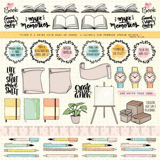 Papel Scrapbook Nossa História Canetas & Lápis - Scrap Goodies
