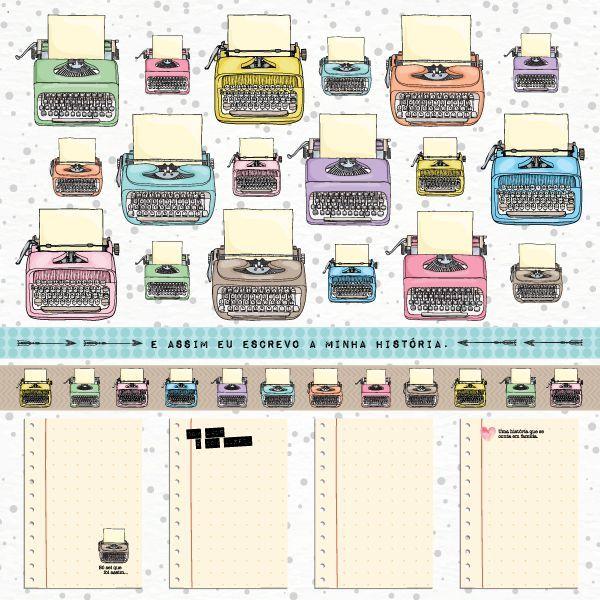 Papel Scrapbook Nossa História Máquina de Escrever - Scrap Goodies