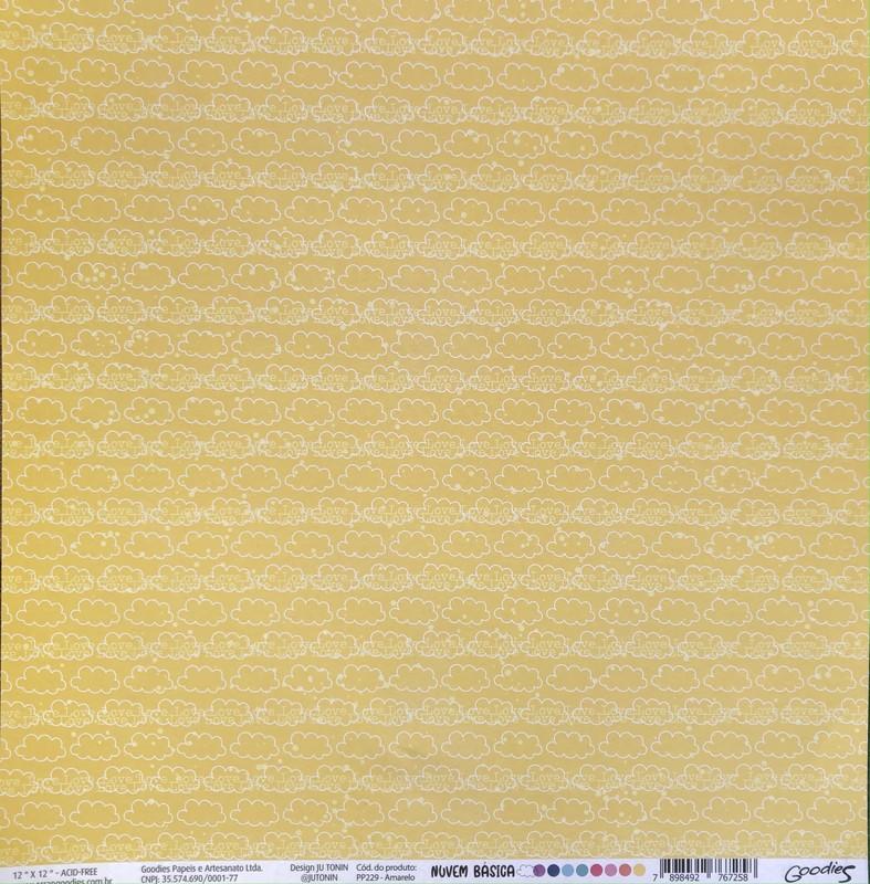 Papel Scrapbook Nuvem Básica Amarelo PP229 - Scrap Goodies