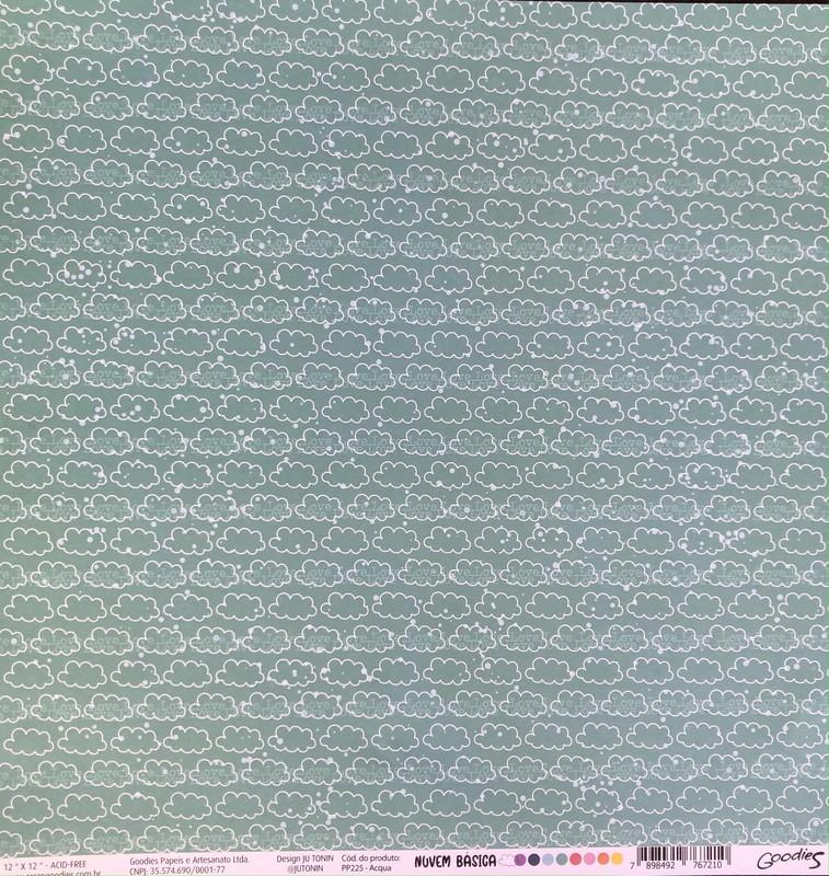 Papel Scrapbook Nuvem Básica Aqua PP225 - Scrap Goodies