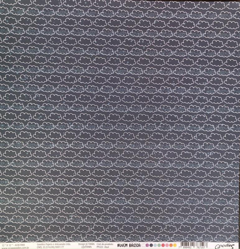 Papel Scrapbook Nuvem Básica Azul PP223 - Scrap Goodies