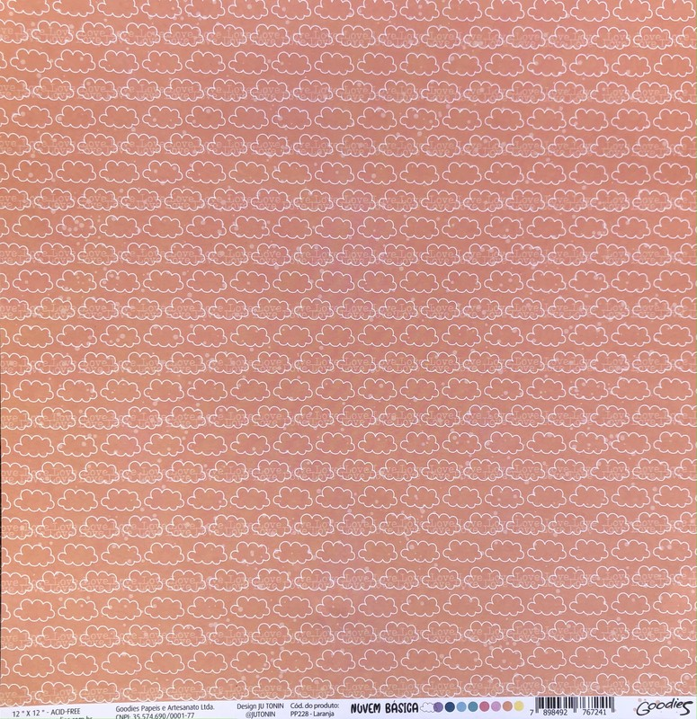 Papel Scrapbook Nuvem Básica Laranja PP228 - Scrap Goodies