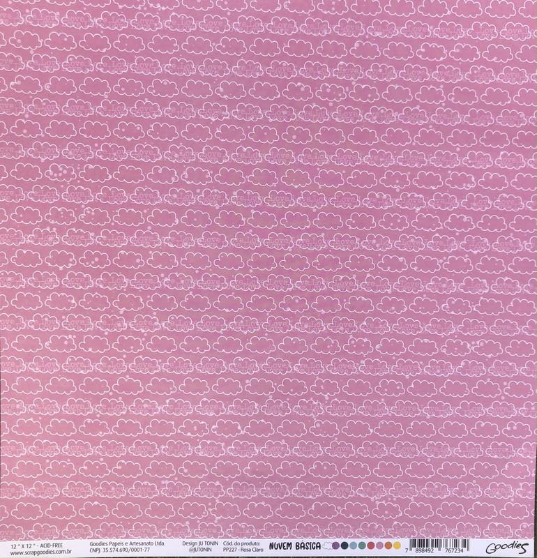 Papel Scrapbook Nuvem Básica Rosa PP227 - Scrap Goodies