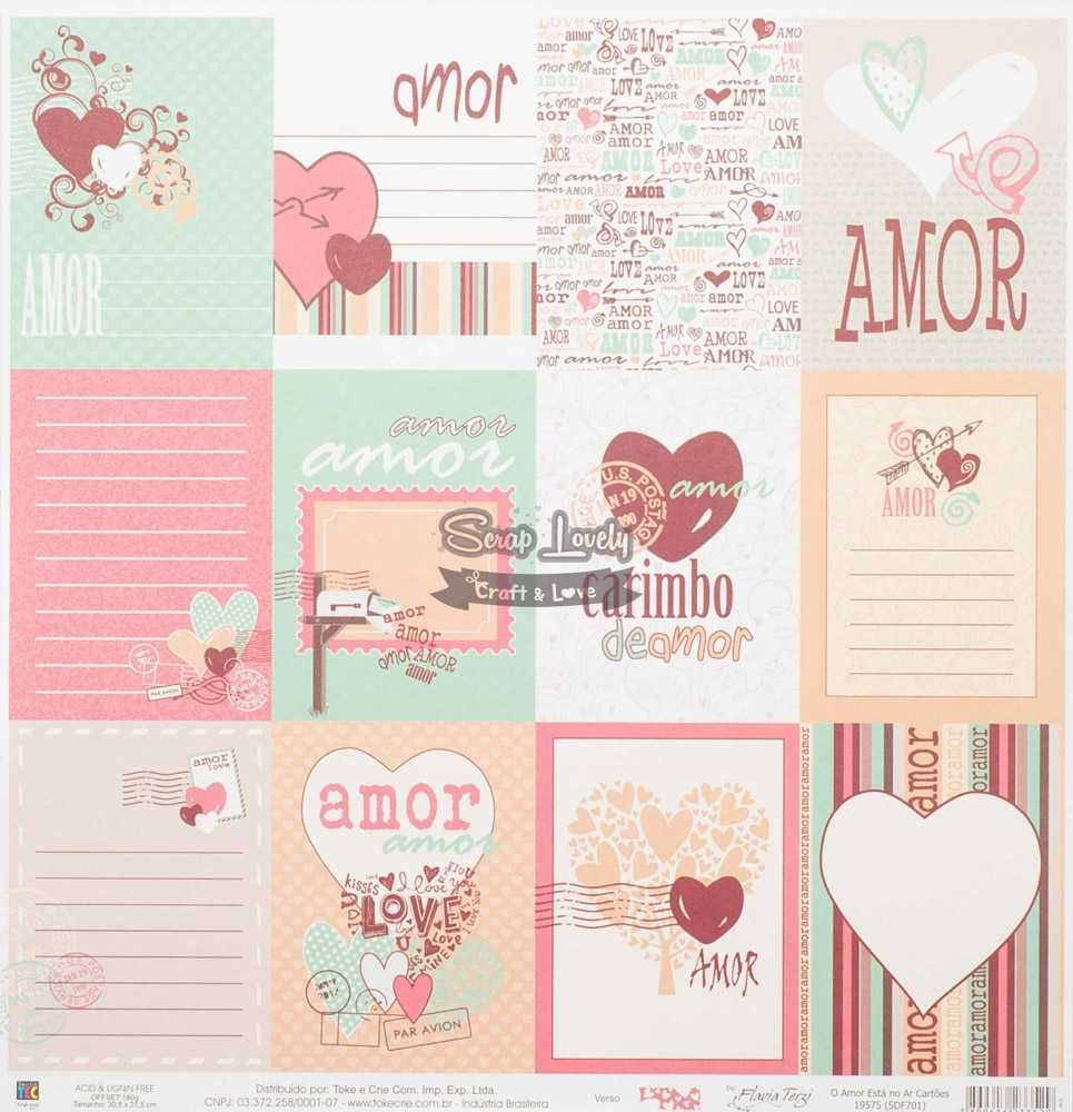 Papel Scrapbook O Amor Está no Ar Cartões - Toke e Crie