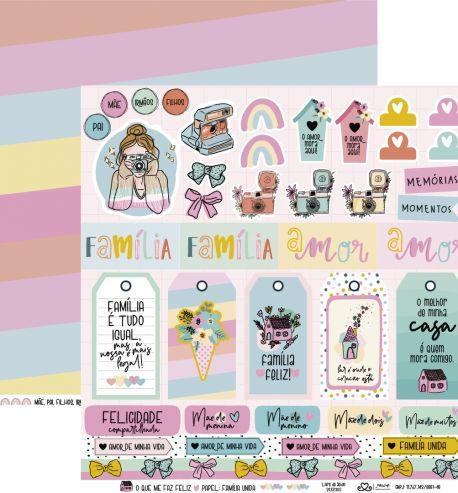 Papel Scrapbook O Que Me Faz Feliz Família Unida - Atelie Craft
