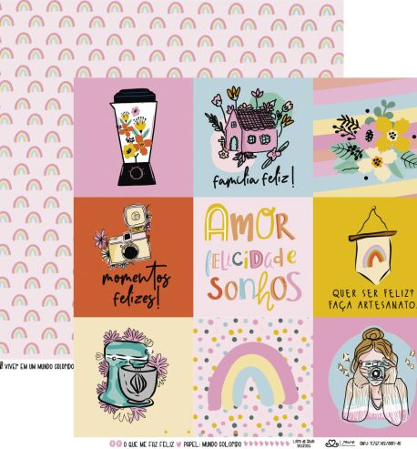 Papel Scrapbook O Que Me Faz Feliz Mundo Colorido - Atelie Craft
