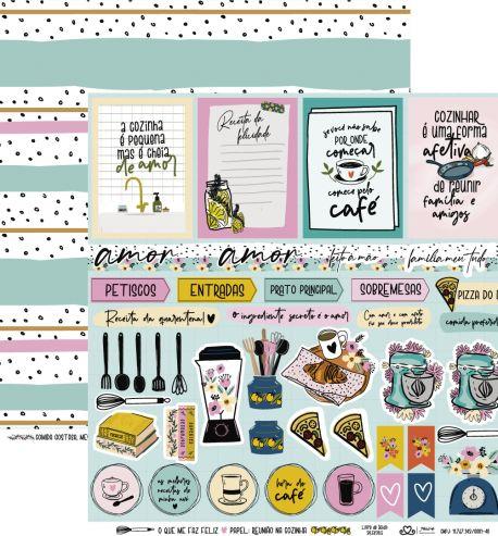 Papel Scrapbook O Que Me Faz Feliz Reunião na Cozinha - Atelie Craft