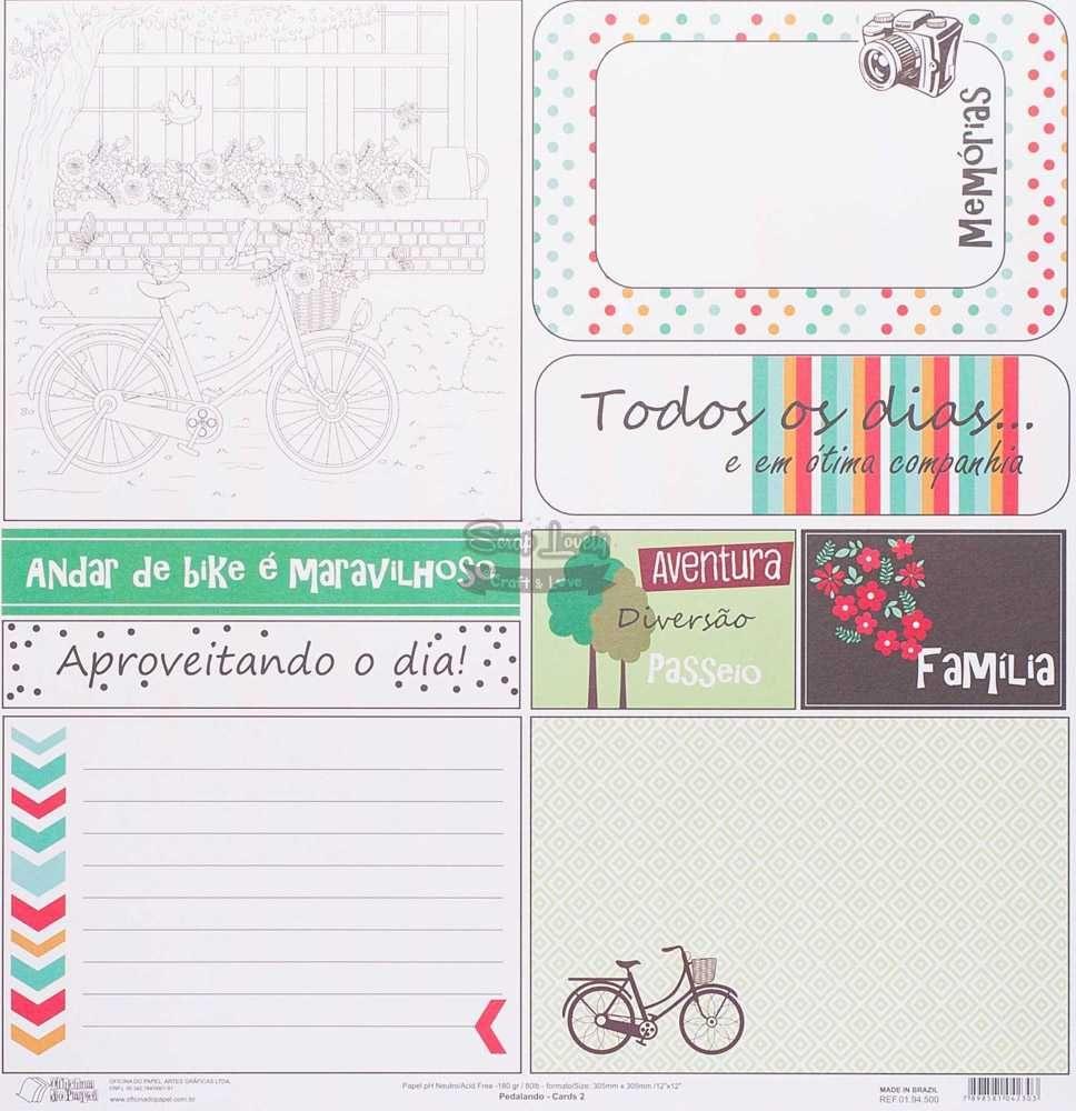 Papel Scrapbook Pedalando Cards 2 - Oficina do Papel