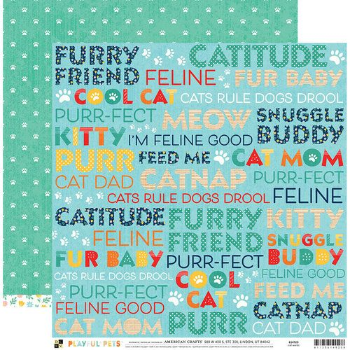 Papel Scrapbook Playful Pets Cat Words - DCWV