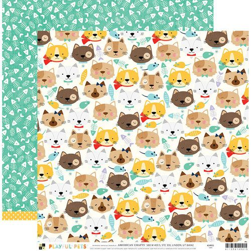 Papel Scrapbook Playful Pets Cats - DCWV