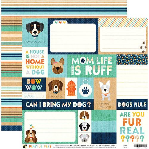 Papel Scrapbook Playful Pets Dog Tags - DCWV