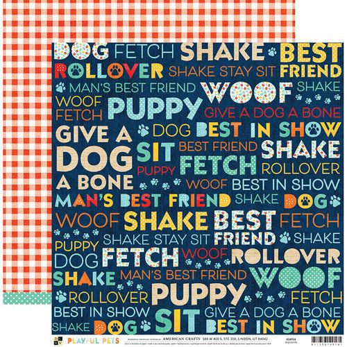 Papel Scrapbook Playful Pets Dog Words - DCWV