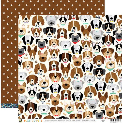 Papel Scrapbook Playful Pets Dogs - DCWV