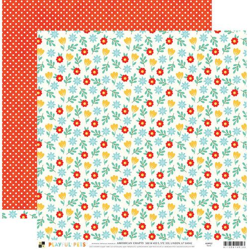 Papel Scrapbook Playful Pets Floral - DCWV