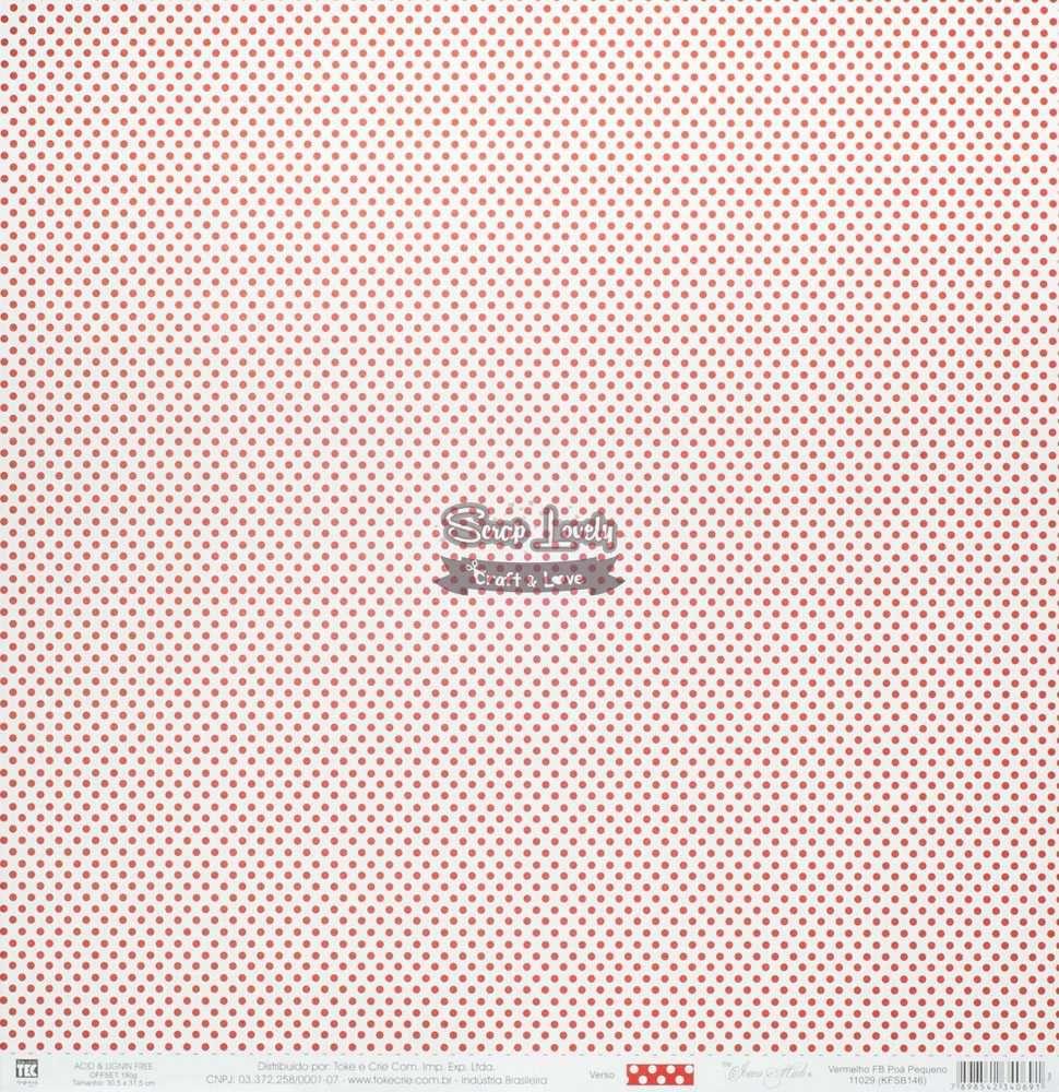 Papel Scrapbook Poá Pequeno Vermelho FB - Toke e Crie