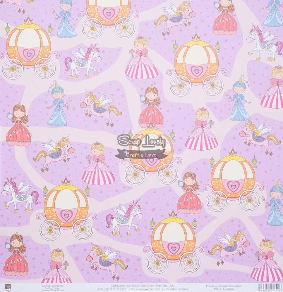 Papel Scrapbook Princesas Delicadas Acessórios - Toke e Crie