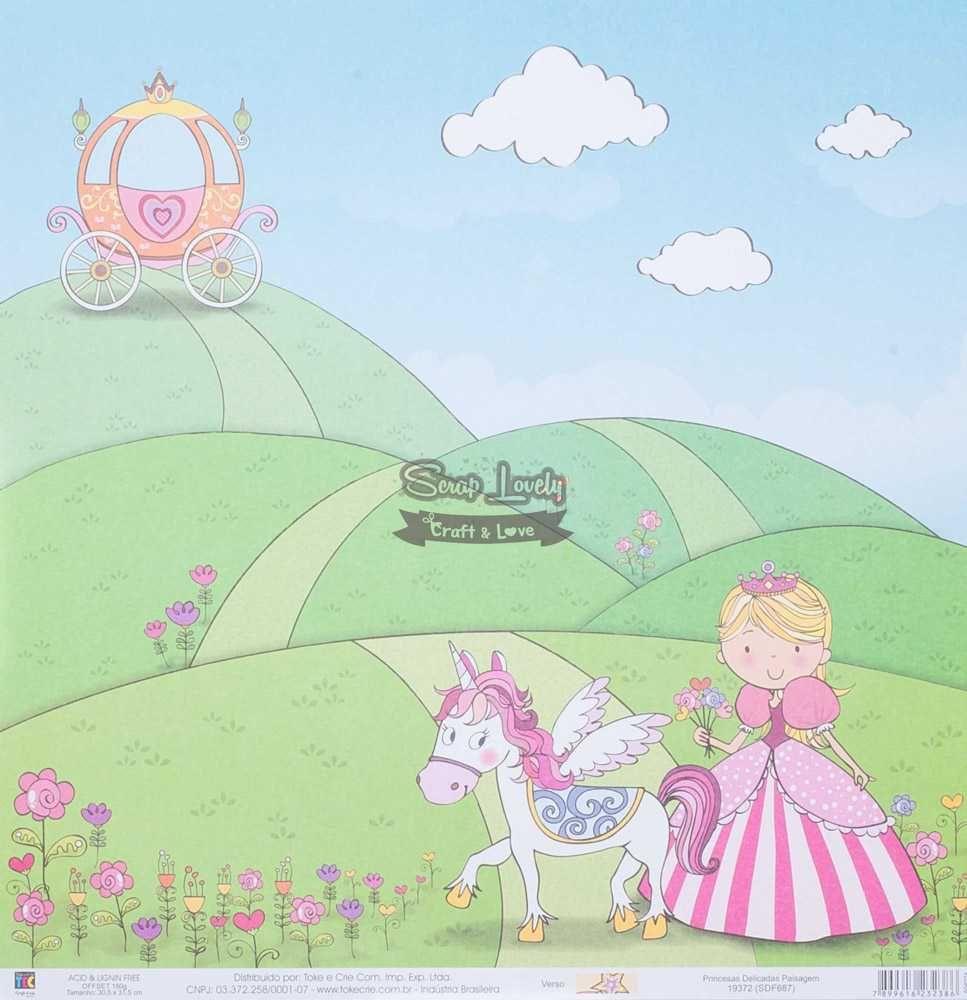 Papel Scrapbook Princesas Delicadas Paisagem - Toke e Crie