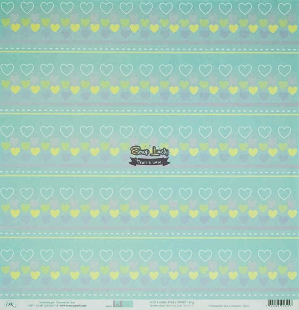 Papel Scrapbook Princesas Mini Tags e Corações - OK Scrapbook